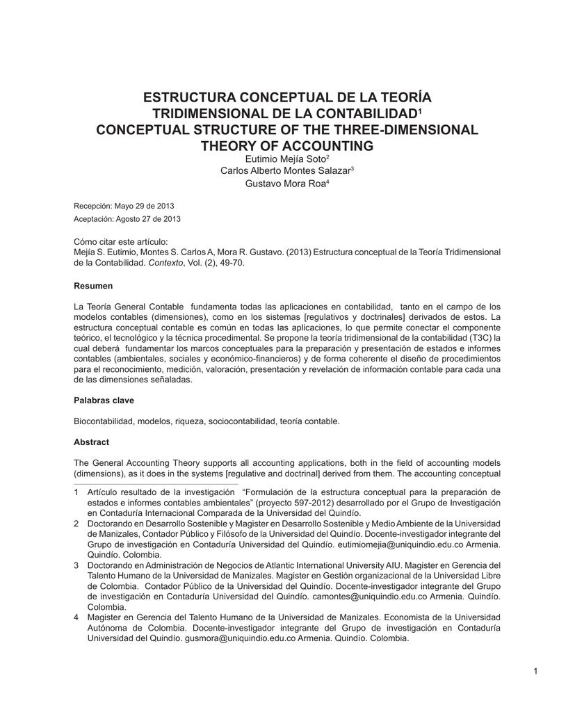 ESTRUCTURA CONCEPTUAL DE LA TEORÍA TRIDIMENSIONAL DE LA CONTABILIDAD