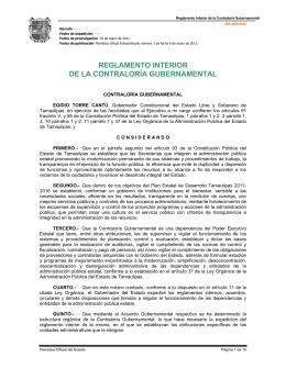 Reglamento Interior de la Contraloría Gubernamental