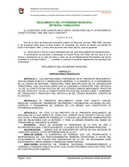 Reglamento del Patrimonio Municipal