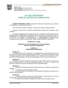 Ley del Notariado para el Estado de Tamaulipas