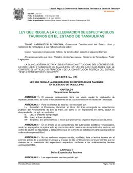Ley que regula la celebración de Espectáculos Taurinos en el Estado
