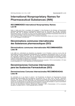 International Nonproprietary Names for Pharmaceutical Substances (INN) RECOMMENDED International Nonproprietary Names: List 58