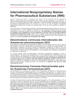 International Nonproprietary Names for Pharmaceutical Substances (INN)