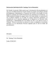 Individual Statement to Order of Discontinuance of the Proceeding (Spanish)