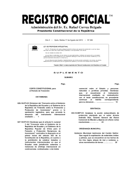 Judgment on the Constitutionality of the China/Ecuador and Finland/Ecuador BITs (Spanish)
