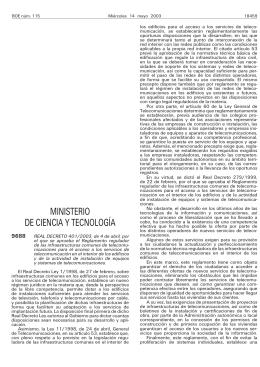Real Decreto 401/2003, de 4 de abril, por el que se aprueba el Reglamento Regulador de las Infraestructuras Comunes de Telecomunicación (derogado).