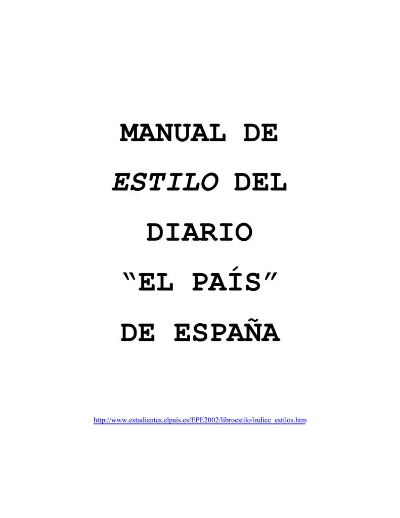 """MANUAL DE DIARIO """"EL PAÍS"""" DE ESPAÑA"""