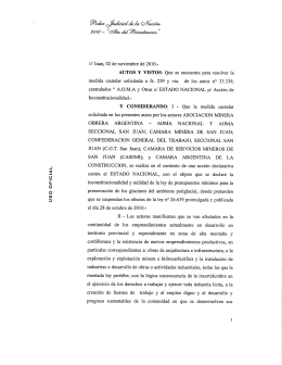 Injunction issued by Judge Miguel Angel Gálvez of Federal Court No. 1 in the Province of San Juan