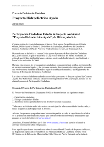 CONAMA Notice of Citizen Participation in Aysén Hydroelectric Project Environmental Impact Study