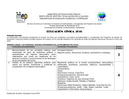 Distribucion de items Educacion Cívica 2016