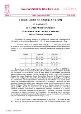 Anuncio información pública proyecto investigación BURGOS 2. BOCYL 7/mayo/2012.