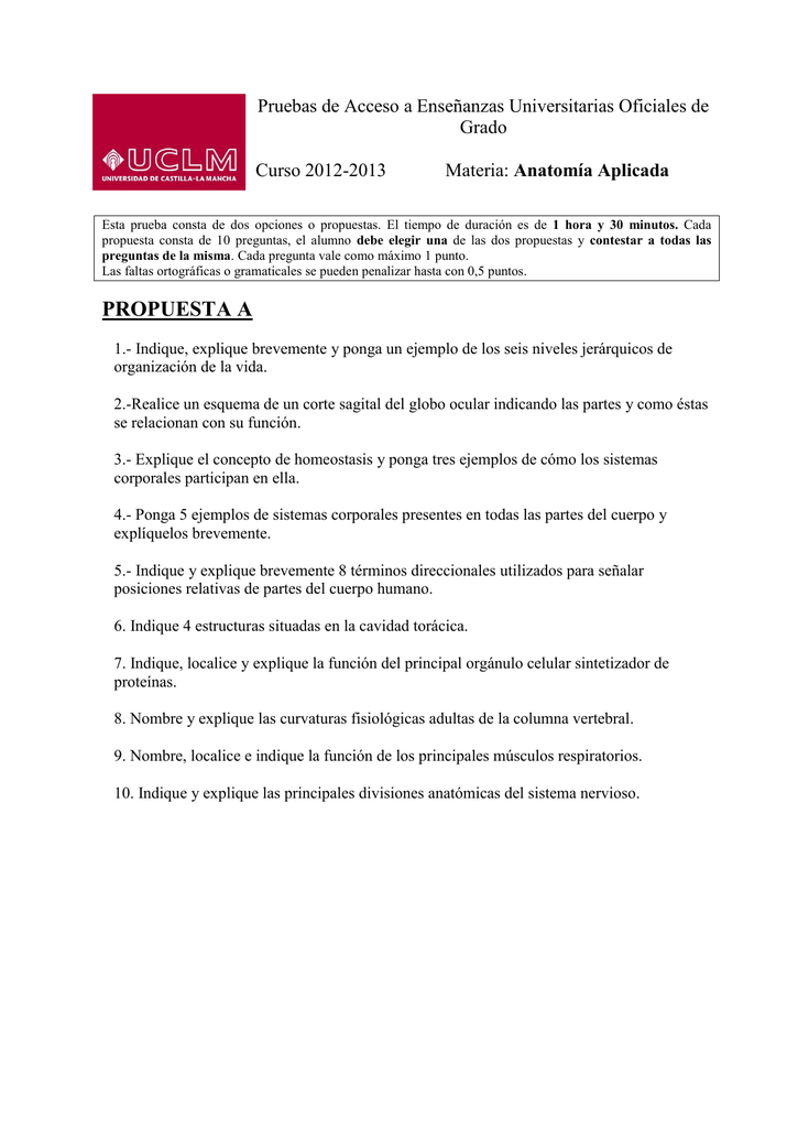 PROPUESTA A Pruebas de Acceso a Enseñanzas Universitarias Oficiales ...