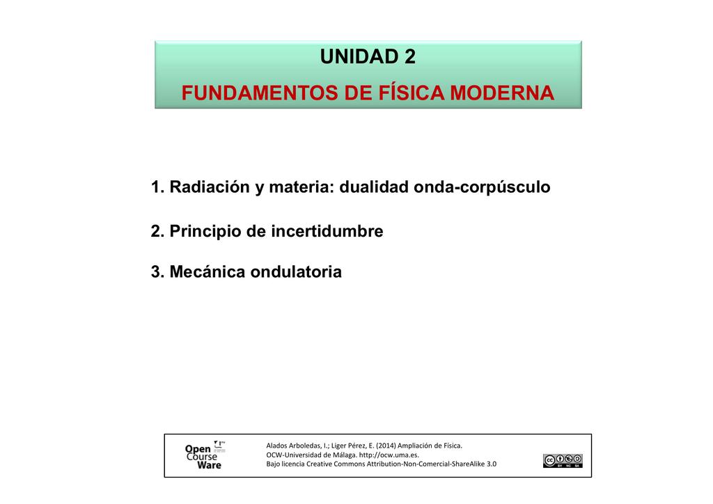 UNIDAD 2 FUNDAMENTOS DE FÍSICA MODERNA 1. Radiación y materia ...