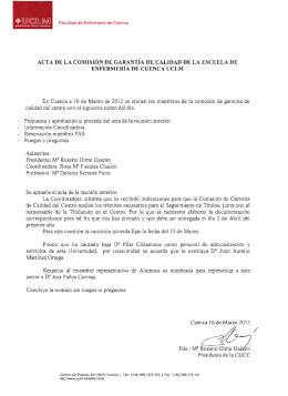 ACTA DE LA COMISIÓN DE GARANTÍA DE CALIDAD DE LA... ENFERMERÍA DE CUENCA UCLM En 16  de  Marzo  de