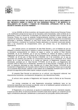 REAL DECRETO 439/2007, de 30 de marzo, por el que se aprueba el reglamento del impuesto sobre la renta de las personas f sicas y se modifica el reglamento de planes y fondos de pensiones, aprobado por el Real Decreto 304/2004, de 20 de febrero