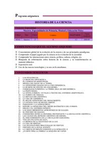 9fa7c80e60 P HISTORIA DE LA CIENCIA rograma asignatura COMPETENCIAS QUE EL ALUMNO  ADQUIERE