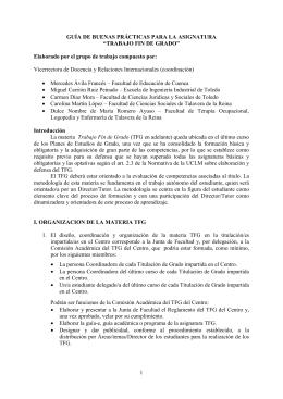 """GUÍA DE BUENAS PRÁCTICAS PARA LA ASIGNATURA """"TRABAJO FIN DE GRADO"""""""