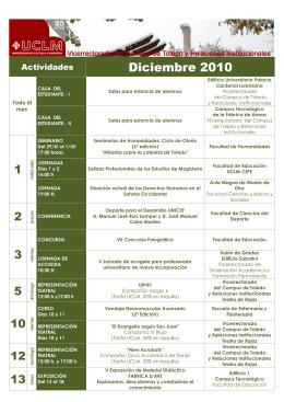 Diciembre 2010 Actividades Todo el mes