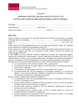 Anexo II I (Resolución de 28/07/2011, Secretaría General UCLM. B.O.U. 142)