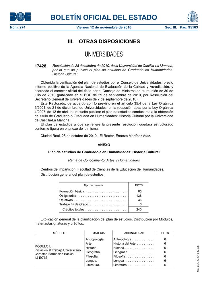 Boletín Oficial Del Estado Universidades Iii Otras Disposiciones 17428