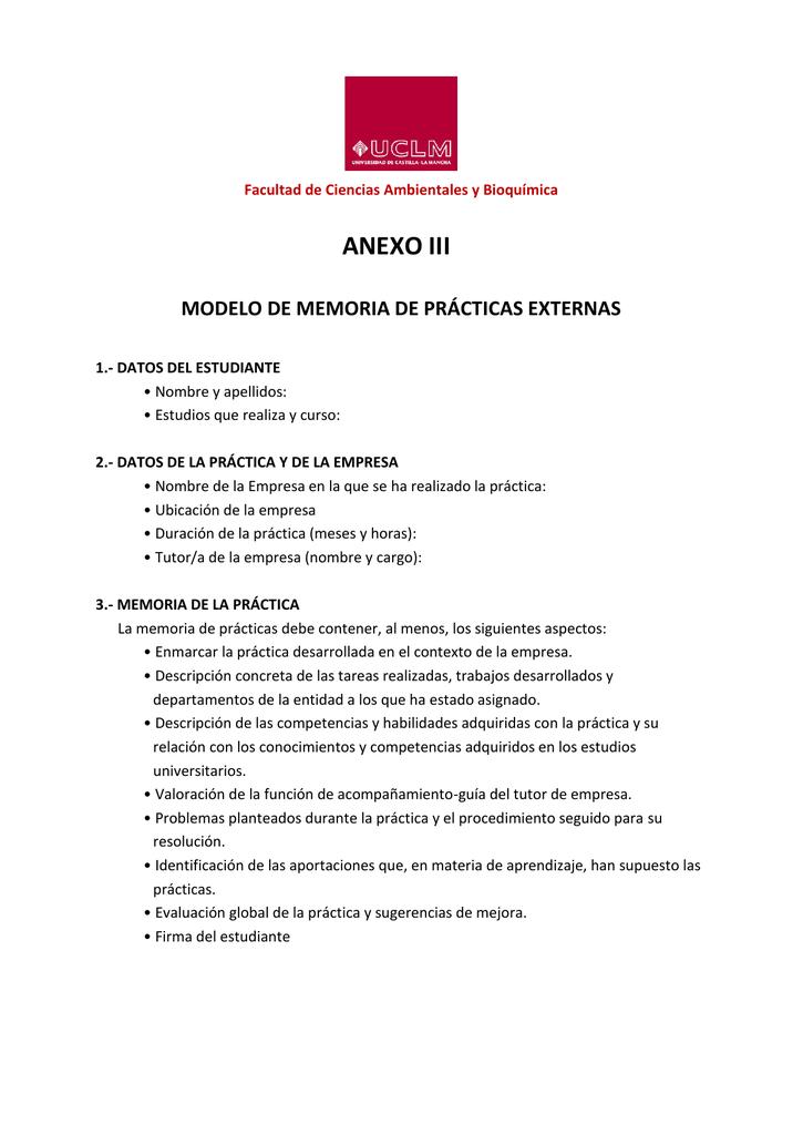 ANEXO III MODELO DE MEMORIA DE PRÁCTICAS EXTERNAS