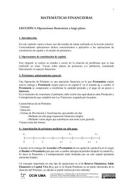 MATEMÁTICAS FINANCIERAS LECCIÓN 5: Operaciones financieras a largo plazo.