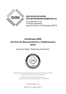 Certificado DINI – Servicio de documentación y publicaciones 2010