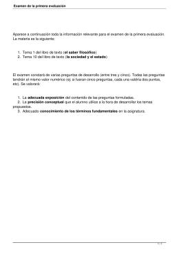 Aparece a continuación toda la información relevante para el examen... La materia es la siguiente: