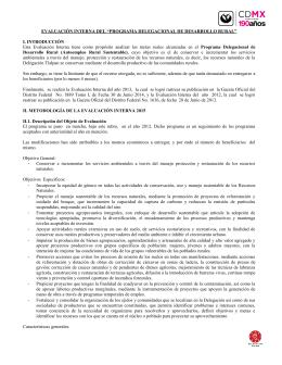 """EVALUACIÓN INTERNA DEL """"PROGRAMA DELEGACIONAL DE DESARROLLO RURAL"""""""