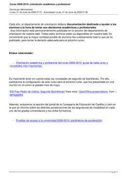 Curso 2009-2010: orientación académica y profesional
