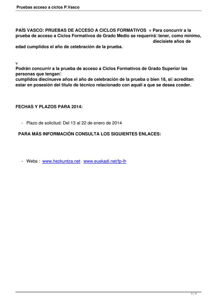 País Vasco Pruebas De Acceso A Ciclos Formativos