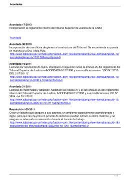 Incorporación al reglamento interno del tribunal Superior de Justicia de... Incorporación de una oficina de género a la estructura del... Acordada 17/2013