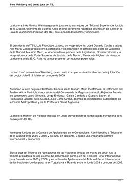La doctora Inés Mónica Weinberg prestó juramento como juez del... de la Ciudad Autónoma de Buenos Aires en una ceremonia...
