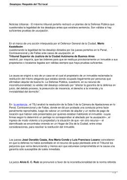 Noticias Urbanas - El máximo tribunal porteño rechazó un planteo... cuestionaba la legalidad de los desalojos antes que existiera sentencia....