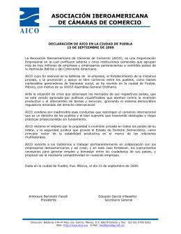 AICO, DECLARACION ASAMBLEA PUEBLA 2009