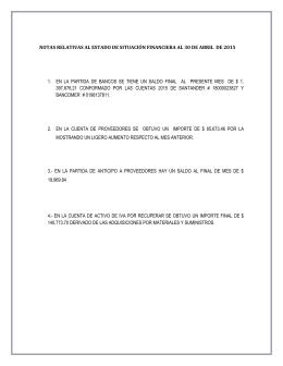 1.  EN  LA  PARTIDA  DE ... 397,676.21  CONFORMADO  POR  LAS  CUENTAS ... NOTAS RELATIVAS AL ESTADO DE SITUACIÓN FINANCIERA AL 30 DE...