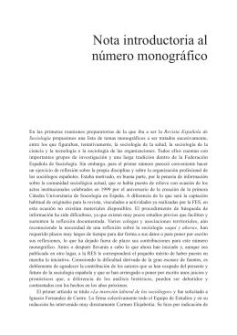 Nota introductoria al número monográfico