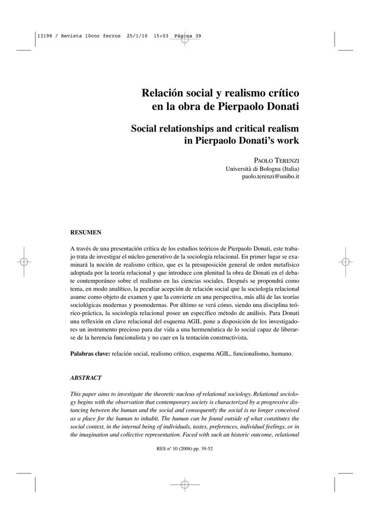 Relación Social Y Realismo Crítico En La Obra De Pierpaolo