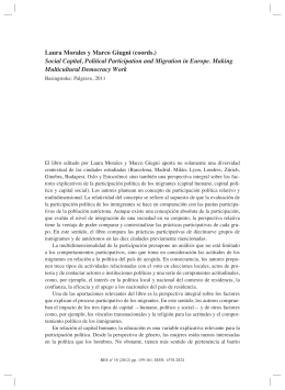 LAURA MORALES y MARCO GIUGNI (coords.), Social Capital, Political Participation and Migration in Europe. Making Multicultural Democracy Work , por Irina Ciornei