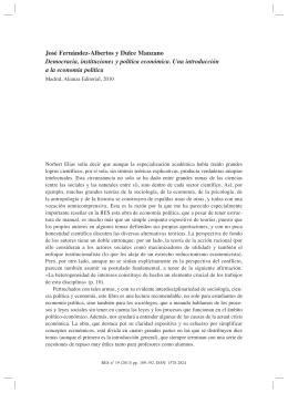 JOSÉ FERNÁNDEZ-ALBERTOS y DULCE MANZANO, Democracia, instituciones y política económica. Una introducción a la economía política , por Jesús Romero Moñivas