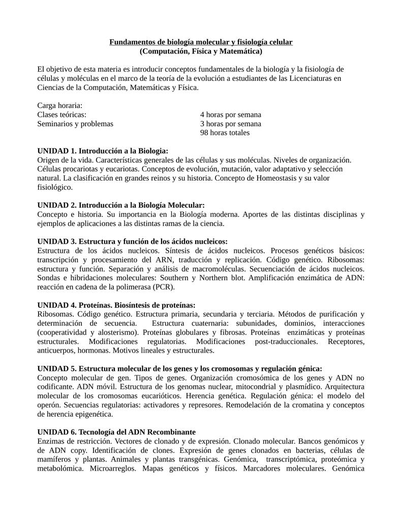 Fundamentos de biología molecular y fisiología celular (Computación ...
