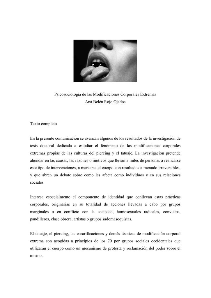 Psicosociología de las Modificaciones Corporales Extremas Ana Belén ...