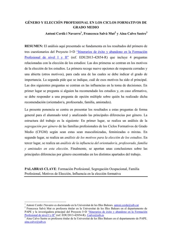 Género Y Elección Profesional En Los Ciclos Formativos De