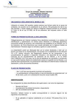 IVA Grupo de entidades. Modelo individual Autoliquidación mensual AYUDA - PRESENTACIÓN 322