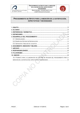 PAC07. MEDICI N DE LA SATISFACCI N, EXPECTATIVAS Y NECESIDADES.