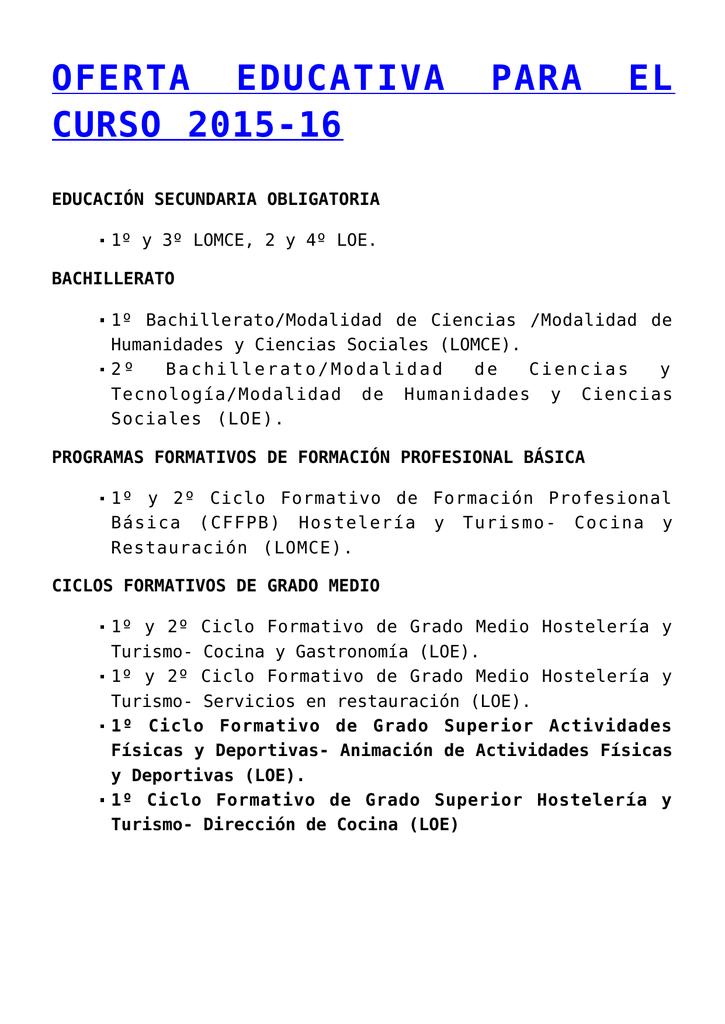 Oferta Educativa Para El Curso 2015 16