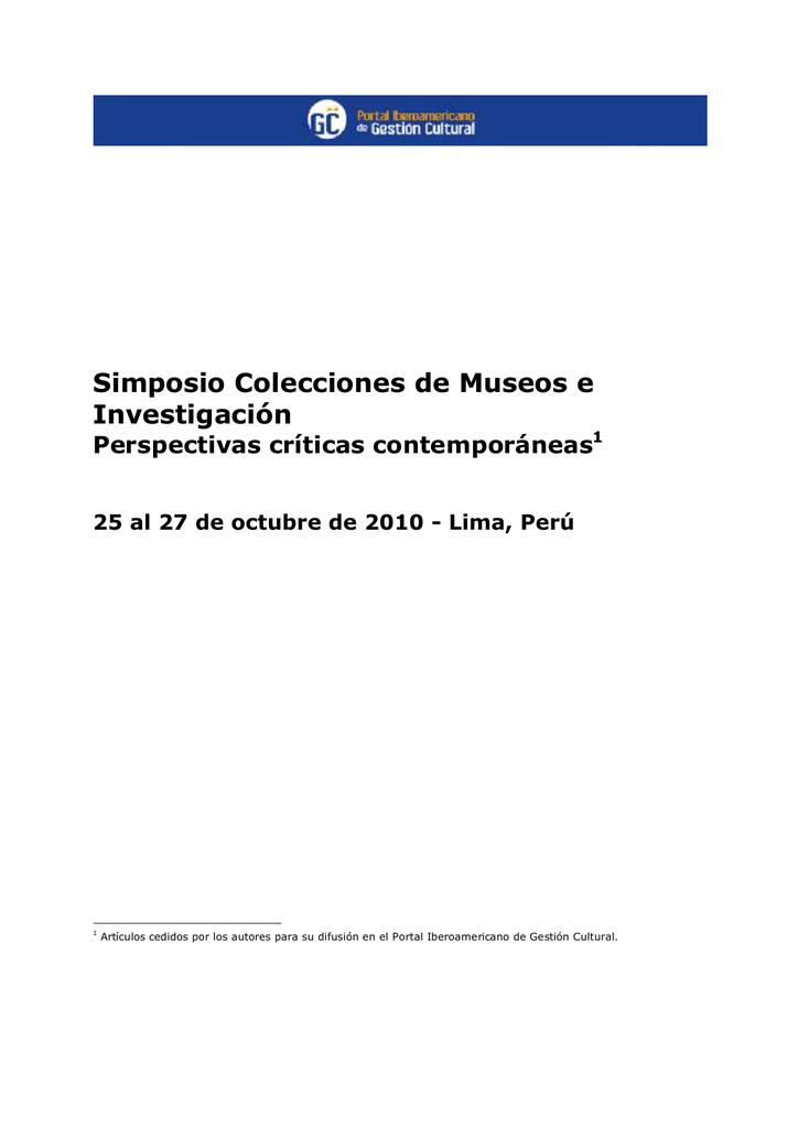 Simposio 'Colecciones de Museos e Investigación