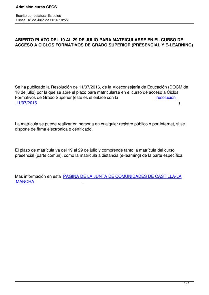 Abierto Plazo Del 19 Al 29 De Julio Para Matricularse