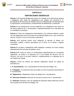 Reglamento Interno H. Ayuntamiento Poza Rica, Ver.