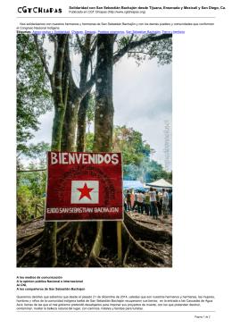 Solidaridad con San Sebastián Bachajón desde Tijuana, Ensenada y Mexicali...